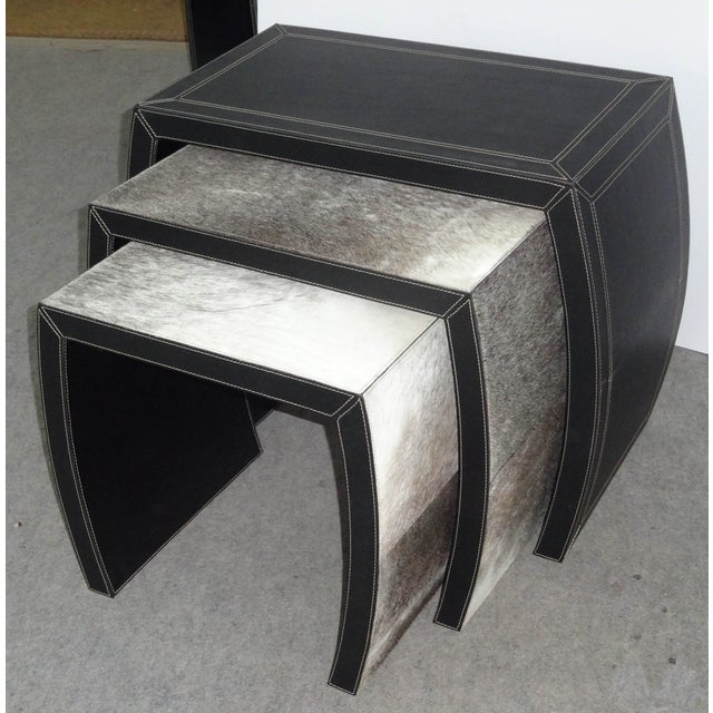 Hair on Black Leather Nesting Tables - Set of 3 - Image 2 of 5