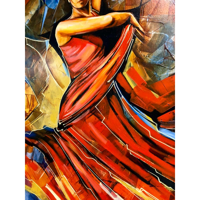 "Original Galya Bukova ""Flamenco"" Acrylic Painting For Sale In Charleston - Image 6 of 8"