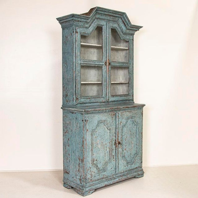 Antique Blue Painted Bookcase Display Cabinet From Sweden For Sale - Image 13 of 13