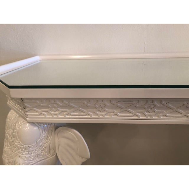 Vintage Gampel & Stoll White Lacquered Elephant Wall Console Table For Sale - Image 10 of 11