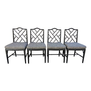 Set of Four Faux Bamboo Chinoiserie Chairs For Sale