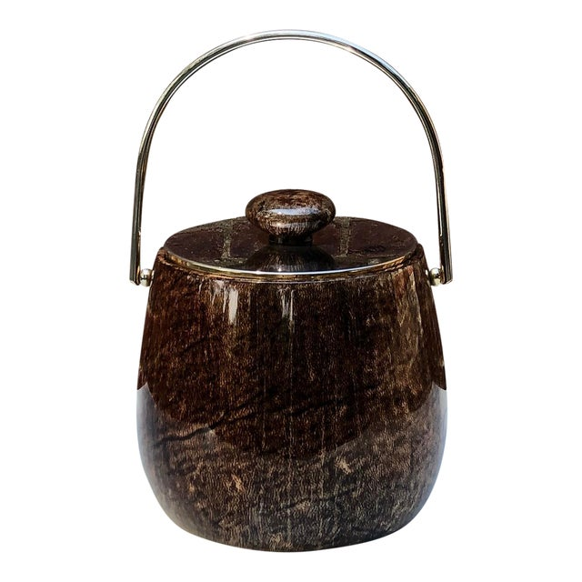C.1950 Italian Aldo Tura Brown Goatskin and Brass Plate Ice Bucket For Sale
