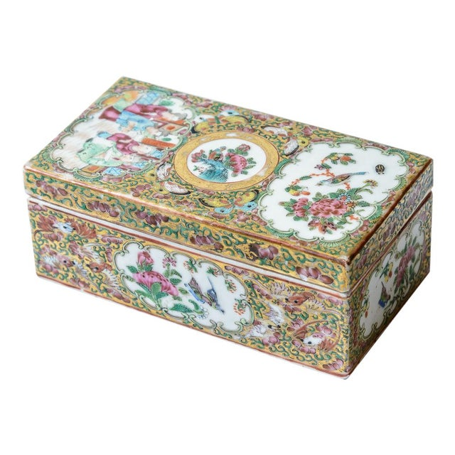 White Chinese Rose Medallion Floral Box For Sale - Image 8 of 8