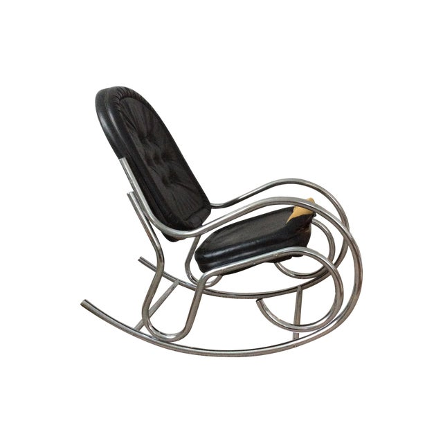 Baughman Style Chrome Rockng Chair - Image 1 of 3