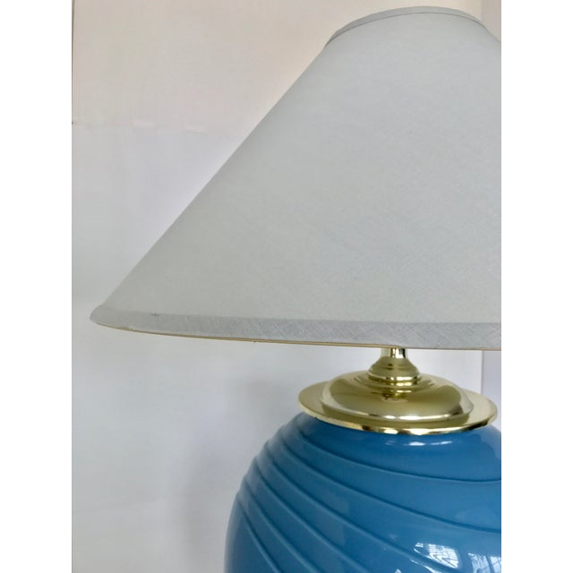Art Deco Sky Blue Glass Table Lamp - Image 7 of 9