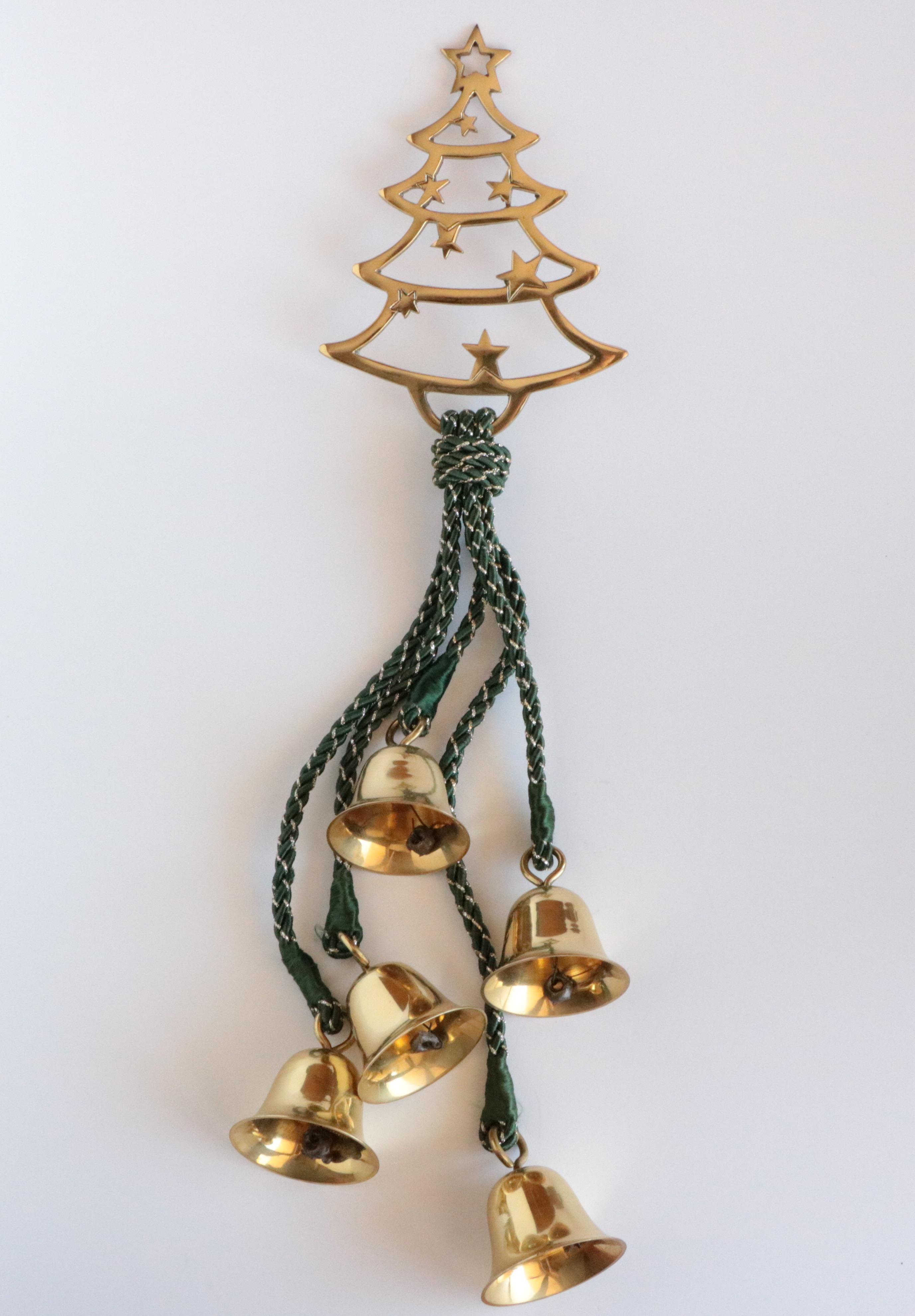 Brass Christmas Tree U0026 Bells Door Hanging For Sale   Image 4 ...