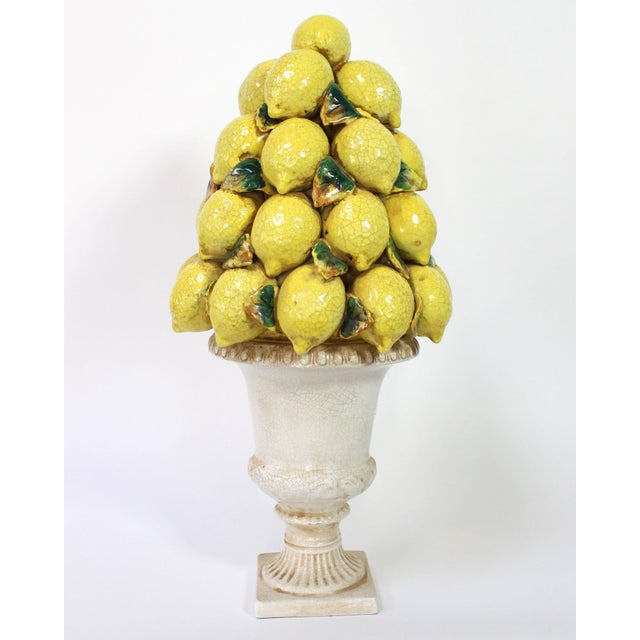 Mid 20th Century Tall Italian Lemon Topiary Majolica For Sale - Image 5 of 7