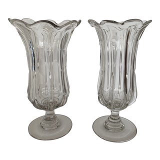 Mid 19th Century Vintage Pillar Molded Flint Glass Celery Holders- A Pair For Sale