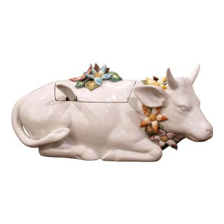 Vintage French Porcelain Cow Soup Tureen With Lid and Ladle For Sale