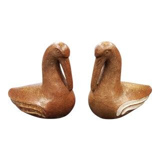 Mid 20th Century Japanese Bizen Ware Bird Sculptures - a Pair For Sale