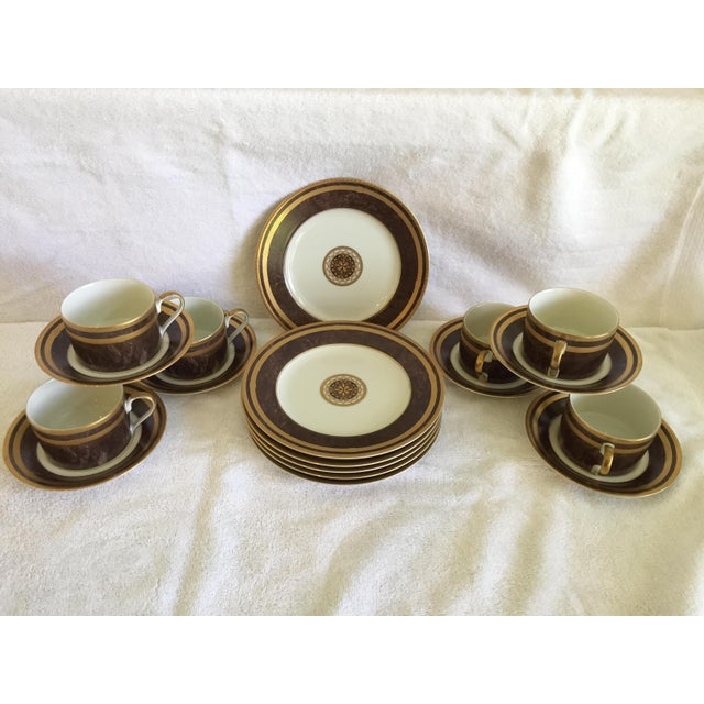 Lovely service for six luncheon/dessert set in Mikasa's Mahogany Florentine pattern (1999-2000). Set consists of six...