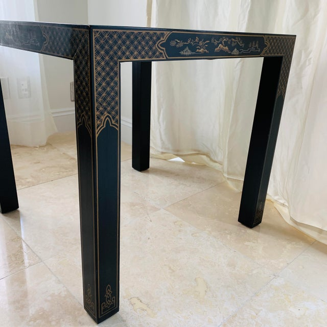 Drexel Heritage Vintage Drexel Heritage Et Cetera Chinoiserie Lacquer End Side Squared Table For Sale - Image 4 of 13