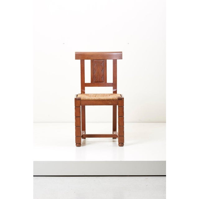 Set of Six Wooden Chairs by Jacques Mottheau, France, 1930s For Sale - Image 4 of 13