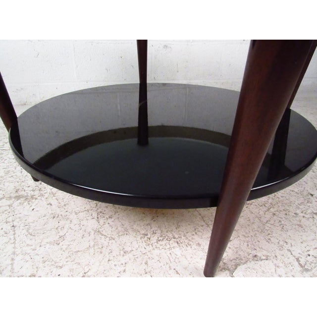 Mid-Century Floating-Top Glass & Brass Coffee Table - Image 8 of 9