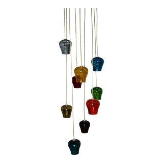Morris Lapidus Hand Blown Multi Colored Glass Goblets Chandelier C.1960s For Sale