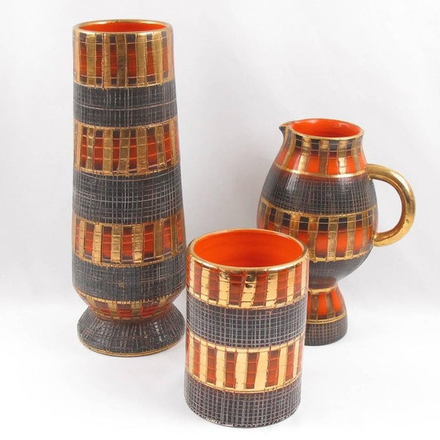 Fratelli Fanciullacci Mid-Century Italian Sgrafitto Pottery Vase - 3 Pieces - Image 3 of 11