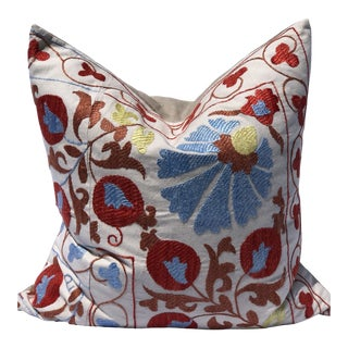 Suzani Pomegranate Flower Textile Cushion For Sale