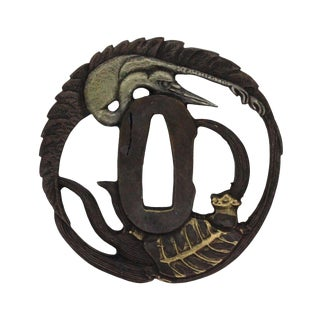 Ronze Quality Handcrafted Japanese Round Tsuba With Crane and Dragon Turtle Art For Sale