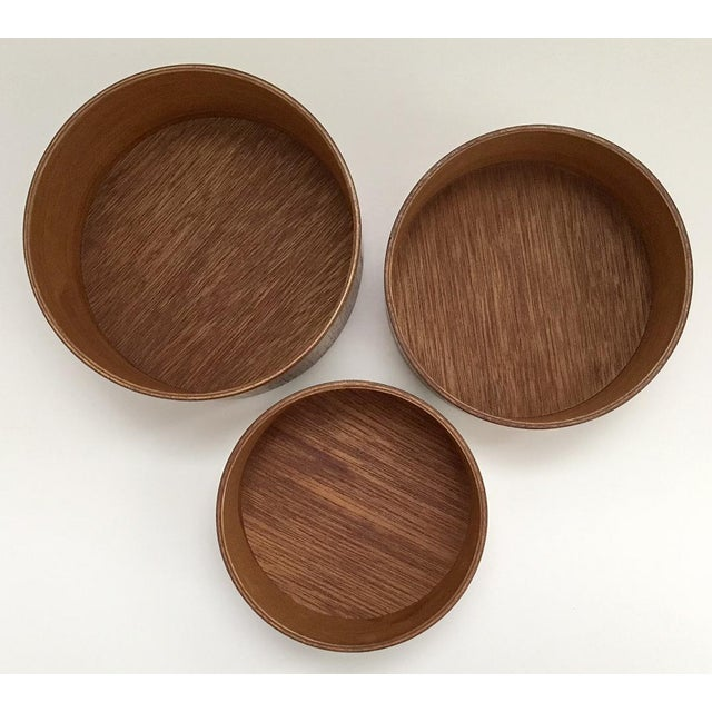Contemporary Danish Modern Wooden Snack Bowls - Set of 3 For Sale - Image 3 of 6