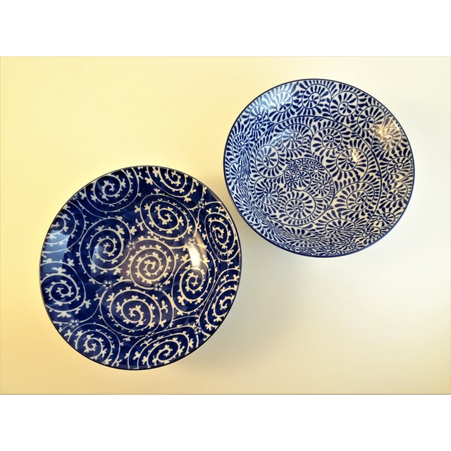 Two ceramic blue & white transfer ware Chinoiserie serving bowls. Microwave and dishwasher safe. Excellent condition,...