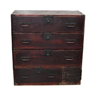 Vintage Meiji Period Japanese 6 Drawers Tansu With Iron Bands For Sale