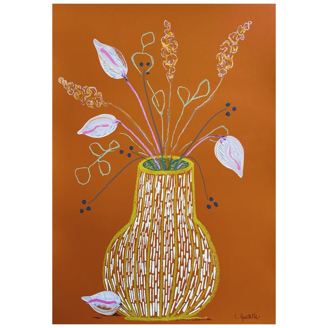 """Mid-Century Modern """"Floral Study in Terra Cotta"""" Contemporary Botanical Still Life Mixed-Media Painting For Sale - Image 3 of 3"""