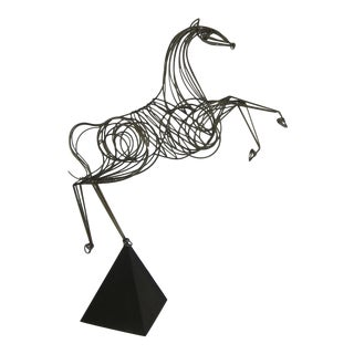 Near Lifesize Brass Horse Sculpture by C. Jere For Sale