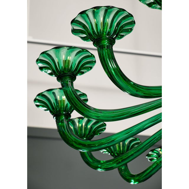 Green Emerald Green Murano Glass Chandelier For Sale - Image 8 of 10