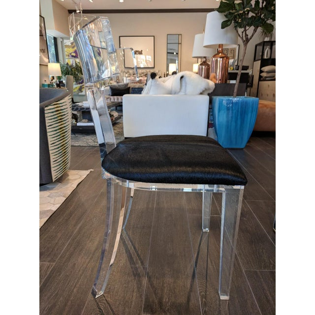 Contemporary Black Cowhide and Lucite Side Chair For Sale - Image 4 of 7