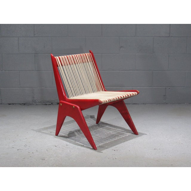 1950's Mid Century Modern Red Painted Wood and Rope Scissor Chair For Sale - Image 10 of 10