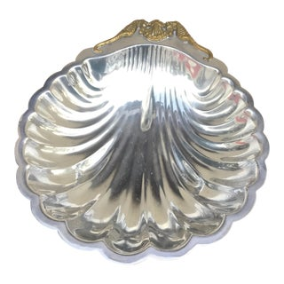 1970s Hollywood Regency Arthur Court Seahorse & Shell Pewter Tray For Sale
