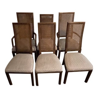 Set of 6 Henredon Scene One Campaign Dining Chairs For Sale