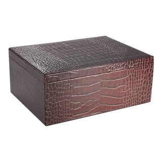 Large Box, Embossed Croc Leather in Brown For Sale