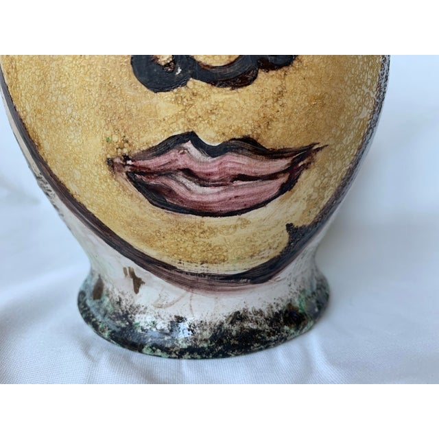 Vintage Italian Pottery Hand Painted Face Pitcher Vase For Sale - Image 11 of 13