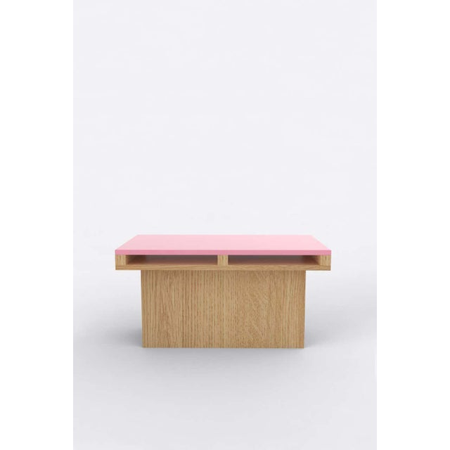 Postmodern Contemporary 102 End Table in Oak and Pink by Orphan Work, 2020 For Sale - Image 3 of 3
