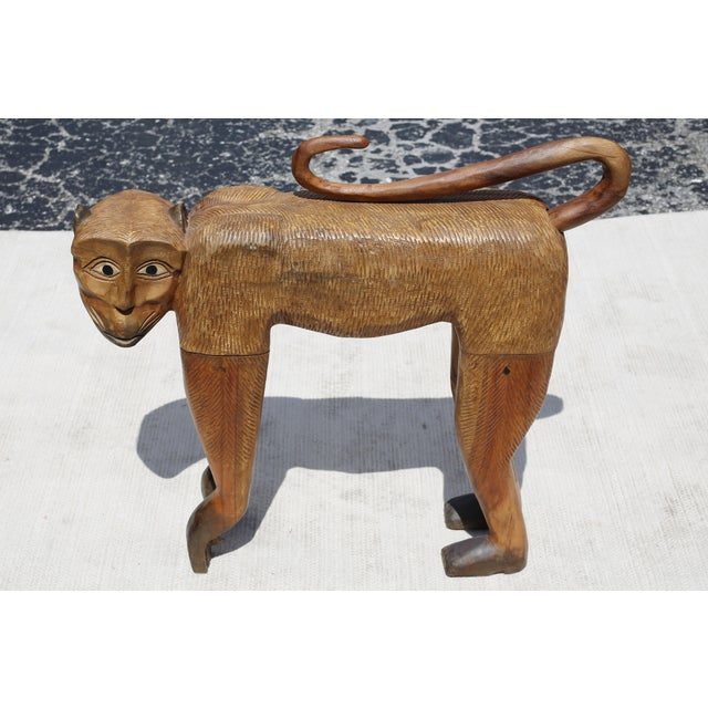 Vintage Hand-Carved Wood Chimpanzee Sculpture For Sale - Image 4 of 7