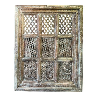 Vintage Blue Jharokha Wall Decor Carved Reclaimed Wood Window For Sale