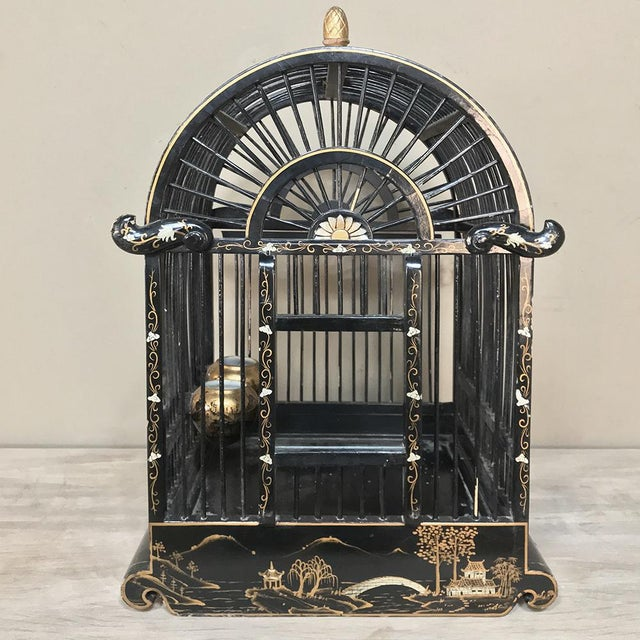 Asian 19th Century French Hand-Painted Chinoiserie Bird Cage For Sale - Image 3 of 13