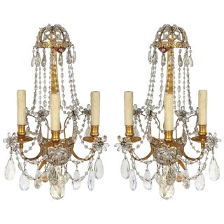 Pair of 19th C French Dore Bronze Crystal Sconces For Sale