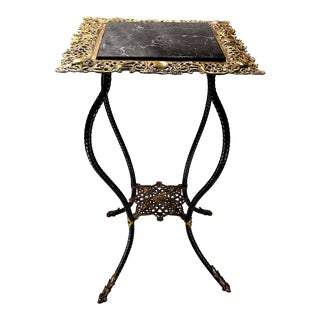 Late 19th Century Victorian B & H Wrought Iron Brass Plant Stand For Sale