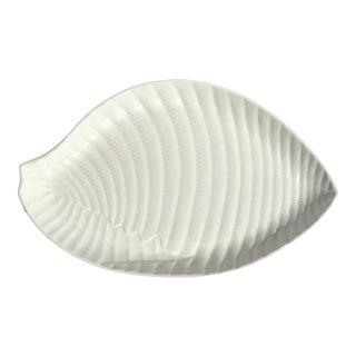 Large White Ceramic Shell Serving Platter For Sale