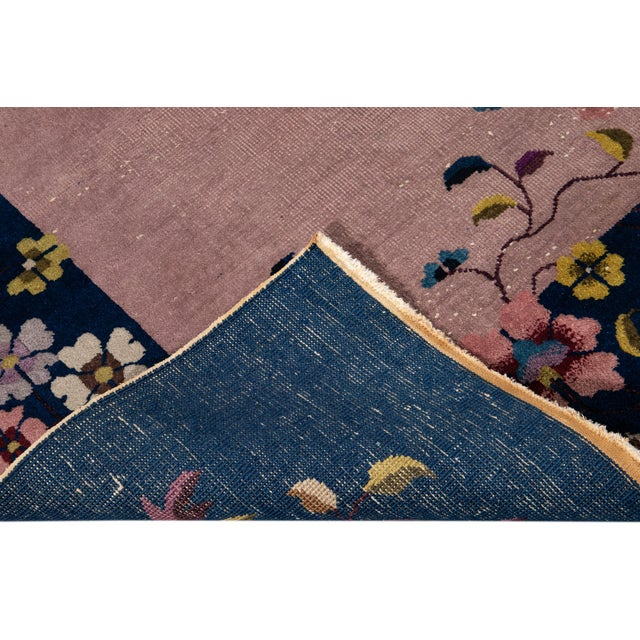 Rose Antique Rose Chinese Art Deco Wool Rug 8 Ft 9 in X 11 Ft 8 In. For Sale - Image 8 of 12