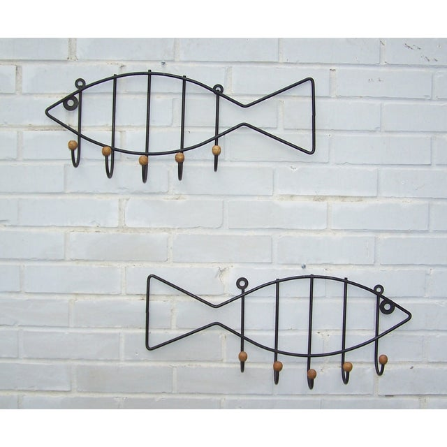Vintage Pair Iron & Wood Fish Coat Hooks - 2 - Image 2 of 7