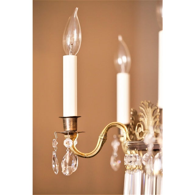Gold Neoclassical Style 6-Light Brass and Crystal Chandelier, Sweden, Circa 1890 For Sale - Image 8 of 10