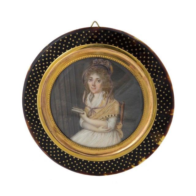 Late 18th Century Vintage German Miniature Portrait & Original Frame For Sale - Image 4 of 4