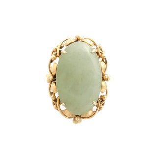 Vintage 18k Gold Jade Cocktail Ring For Sale