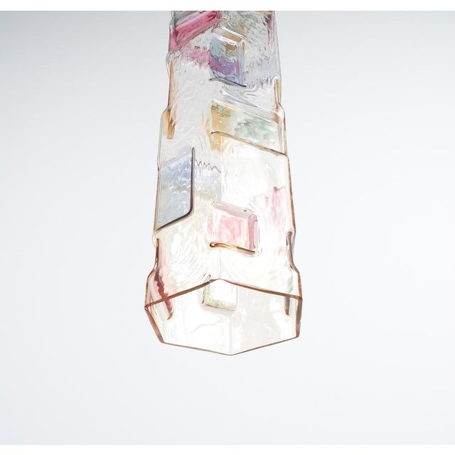 Mid-Century Modern Pair of Colored Glass Pendant Lamps Style Poliarte, Italy, Circa 1955 For Sale - Image 3 of 8