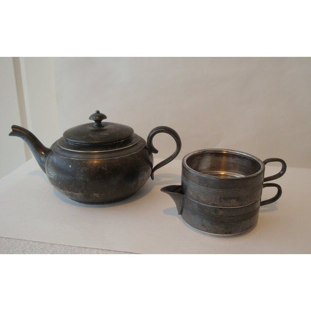 Antique Stacking Tea Pot, Creamer and Cup Set - Image 5 of 5