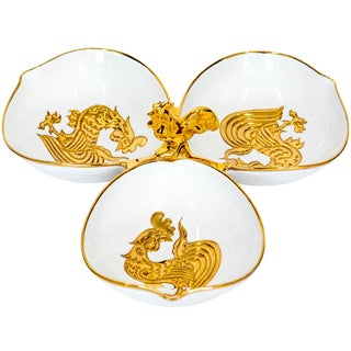 Italian Porcelain Rooster Serving Dish For Sale