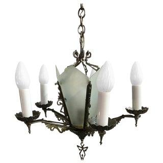 Art Deco Slat Glass Chandelier With Geometric Details For Sale